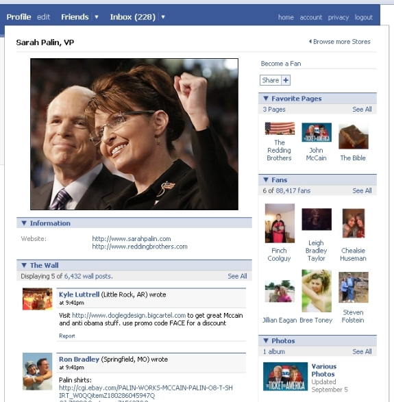 Sarah Palin's Facebook fan page