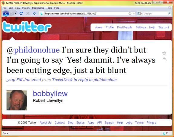 bobbyllew tweets me back!